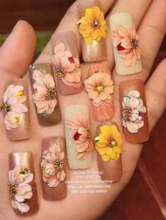 We know you love your weekly mani-pedi, but aren't you getting a little bit tired of the same old pale pinks, nudes, or black? If you're feeling daring you could always try a bright red or blue, but w 3d Nail Art, 3d Acrylic Nails, Floral Nail Art, Pastel Nails, Nail Art Hacks, 3d Nails, Stiletto Nail Art, Bling Nails, 3d Nail Designs
