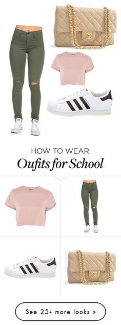 """Middle school outfit "" by kennedysal on Polyvore featuring Topshop, Chanel and adidas"