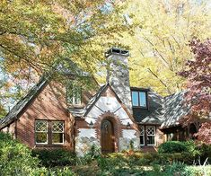 Identified by their steeply pitched rooflines and decorative half-timbering, Tudor-style homes range from elaborate mansions to modest suburban residences. See pictures of Tudor homes and get ideas for your own home here. Tudor Cottage, Cozy Cottage, Cottage Homes, Cottage Style, Rustic Cottage, English Tudor, English House, English Style, Tudor House Exterior