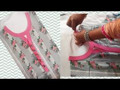 V-Placket neck cutting Tutorial Churidhar Neck Designs, Salwar Neck Designs, Kurta Neck Design, Neck Designs For Suits, Neckline Designs, Dress Neck Designs, Sleeve Designs, Blouse Designs, Embroidery Neck Designs