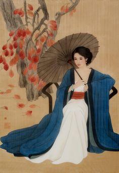 A Beautiful Souls Journey Geisha Drawing, Geisha Art, Dynasty Clothing, Ladies Umbrella, Kimono Japan, China Art, Chinese Painting, Disney Art, Chinese Culture