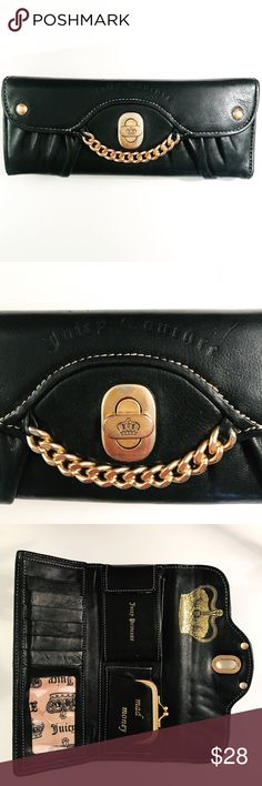 Juicy Couture || Wallet Super posh Juicy Couture black wallet with gold embellishments. There is some discoloring on the gold hardware including the clasp. Includes multiple slots for cards and ID, 2 pockets for cash, a little coin section and a pouch for other small items. It's an extremely versatile wallet! Juicy Couture Bags Wallets