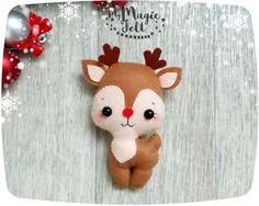 Adornos navideños fieltro ornamento del árbol de Navidad del reno Rudolph la nariz roja fieltro Navidad decoración de árbol de Navidad de Rudolph