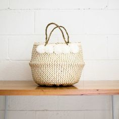 Xinh Cloud Basket - Belly Basket - Rice basket - Vietnamese basket - White pompom basket
