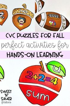 Are you looking for low prep, hands-on, and engaging activities for your students to work on phonics? Your kindergarten and 1st grade students will love my fall themed CVC word puzzles! Some of the skills targeted through this activity are blending, vowel recognition, and vocabulary.