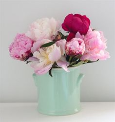 duck egg blue vase and pink peonies ~ totally inlove with it Duck Egg Blue With Pink, Duck Egg Blue Vase, Duck Egg Blue Rooms, Duck Egg Blue Kitchen, Beautiful Flower Arrangements, Pink Flowers, Beautiful Flowers, Fresh Flowers, Pink Roses