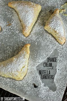 """Orange Cream and Nutella Turnovers: a quick and tasty breakfast idea using Pepperidge Farm Puff Pastry from shugarysweets.com...""""Half are made with Nutella and the other half are made with a Creamy Orange Cheesecake filling! You decide your favorite."""""""