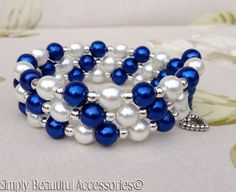 Chic Royal Blue White Silver Glass Pearls Memory Wire Bracelet Cuff Handcraf