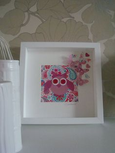 Framed Cute Pink & Red Owl On A Pattered Background