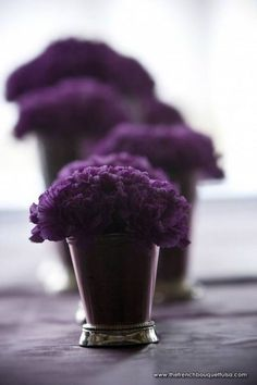 Small-Purple-Carnations-in-Dainty-Silver-Vases-for-Floral-Centerpiece-Arrangement-The-French-Bouquets-Petite-Fleur-Laura-Vogt-Photography. Purple Love, All Things Purple, Shades Of Purple, Deep Purple, Purple Stuff, Purple Carnations, Purple Flowers, Cheap Flowers, Colorful Roses