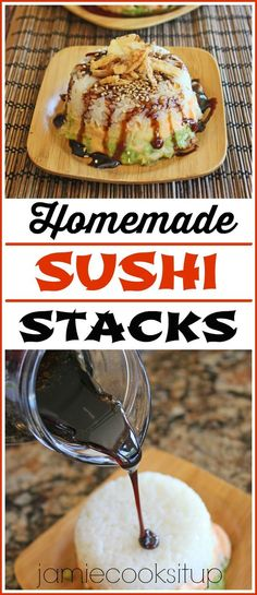 Stacks Homemade Sushi Stacks from Jamie Cooks It Up!Homemade Sushi Stacks from Jamie Cooks It Up!Sushi Stacks Homemade Sushi Stacks from Jamie Cooks It Up!Homemade Sushi Stacks from Jamie Cooks It Up! Seafood Recipes, Cooking Recipes, Cooked Sushi Recipes, Onigirazu, Good Food, Yummy Food, Asian Recipes, Food Plating, Delish