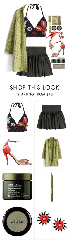 """""""Knit."""" by s-elle ❤ liked on Polyvore featuring RED Valentino, Polo Ralph Lauren, Roger Vivier, Chicwish, Origins, Stila, MSGM, cardigan, crochet and knitskirt"""