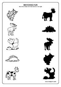 Shadow Fun Worksheets , Activity Sheets for kids, Funs Worksheets