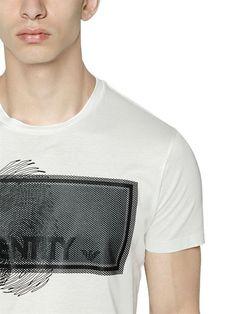 emporio armani - men - t-shirts - identity printed cotton jersey t-shirt