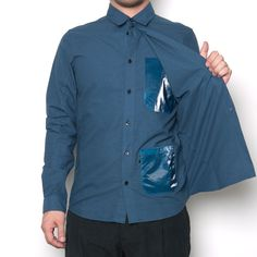 Premium??? Stone Island Shadow Project Double Panel Shirt_CO Oxford Navy