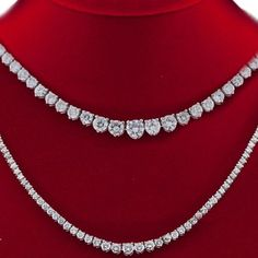 14k-White-Gold-Diamond-Tennis-Necklace-8-06-Carat-G-SI-3-Prong-16-Inch-Graduated