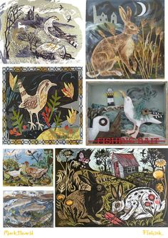 Birds and rabbits - The colourful collages, watercolours, and linocuts of illustrator Mark Hearld.