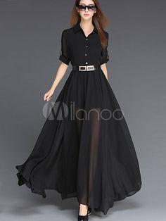 3/4 comprimento mangas Chiffon feminino com cinto vestido Maxi