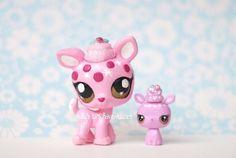 Littlest Pet Shop Custom OOAK  Deer Mommy Baby Sculpted Glitter Pink LPS Acrylic #Hasbro