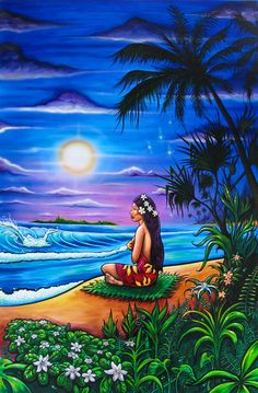 """VAHINE"" — Classic Drew Brophy style Surf Art Paintings (www. Graffiti Kunst, Pop Art, Polynesian Art, Tiki Art, Caribbean Art, Hawaiian Art, Surfboard Art, Photo D Art, Vintage Hawaii"