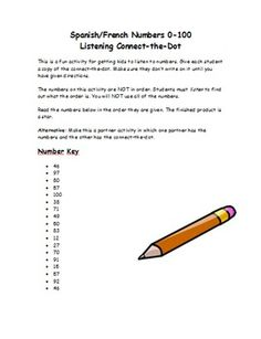 This is a fun activity for getting kids to listen to numbers in the target language. Give each student a copy of the connect-the-dot. Make sure they dont write on it until you have given directions.The numbers on this activity are NOT in order. Students must listen to find out what the order is.