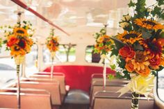 Sunflower wedding flowers, retro bus for guests