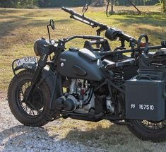 Here's a rare  model: the 1942 R75 Military Motorcycle with sidecar from BMW.