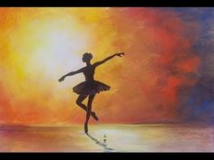 Ballerina Silhouette Impressionist Acrylic Painting on Canvas for Beginners FREE TUTORIAL - YouTube