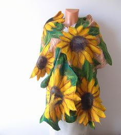 Nuno Felted scarf   Sunflower yellow green flower autumn. $124.00, via Etsy.
