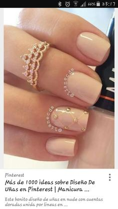 40 Nude Color Nail Art Ideas Another nude nail art design with gold beads on top. This design also has the single diagonal shaped mail which is prettily highlighted from the rest of the nails. Perfect Nails, Gorgeous Nails, Pretty Nails, Nude Nails, Gel Nails, Nail Polishes, Luxury Nails, Nagel Gel, Fancy Nails