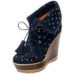 Studded Wedge Bootie Ink Blue Heavy Suede ($1,200) ❤ liked on Polyvore