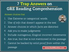Trap Answers on GRE Reading Comprehension