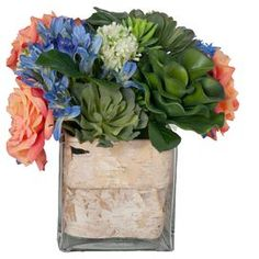Faux floral and succulent arrangement in a birch bark-lined vase.  Product: Faux botanical arrangementConstruction Material: Plastic, glass and fabricColor: MultiFeatures: Natural birch lining Dimensions: 15 H x 15 W x 15 D Cleaning and Care: For indoor use only. Wipe with feather duster or damp rag.