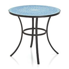 "Mosaic Blue Bistro Table- 32"" dia x 29.75"" H / Crate and Barrel"