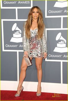 Jennifer Lopez in Emilio Pucci at the Grammys. This would look tacky on any other 41 year-old but this is J.Lo so I wouldn't expect anything less.