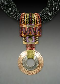 Joan Babcock - Seed bead collar with hammered Brass and silver pendant, nylon cord, glass beads. Textile Jewelry, Macrame Jewelry, Jewelry Art, Jewelry Design, Fashion Jewelry, Artisan Jewelry, Handmade Jewelry, Macrame Colar, Macrame Knots