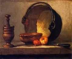 Pestle and Mortar, Bowl, Two Onions, Copper Pot and Kettle - Jean-Baptiste-Simeon Chardin
