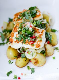 Pan Fried Halloumi with Roasted Baby Potatoes, Sauteed Lemom Garlic Chilli Onions and Capers