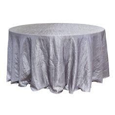 "Economy Crush Taffeta 132"" Round Tablecloth - Silver"