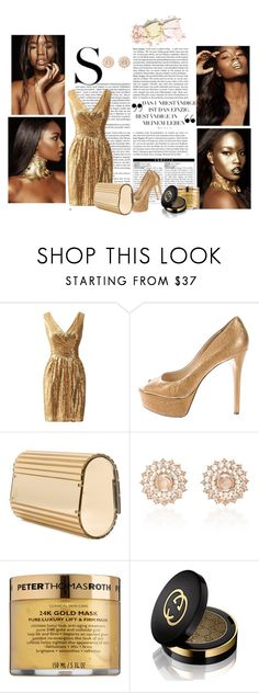 """golden girl :)"" by sanjazg985 on Polyvore featuring moda, B Brian Atwood, Elie Saab, Nam Cho, Peter Thomas Roth, Gucci i Lime Crime"