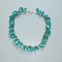 Turquoise Pistachio Shell Chain Necklace by DesignsBySaraLane, $30.00