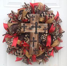 Leopard Wreath Deco Mesh Wreath Cross by KaylasKreationsTX