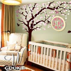 Cherry blossom tree with birds   Nursery Tree Wall by wcookie, $126.00