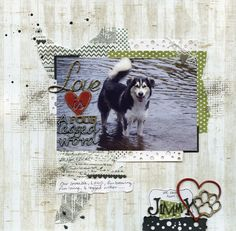Layout by Jill Wheeler featuring Scrap FX products: Love is a 4 legged word title, Heart & paw. www.scrapfx.com.au