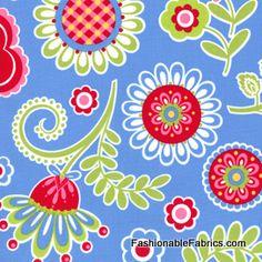 Fabric... Ooh La La Bouquet de Fleurs on blue by Pillow and Maxfield