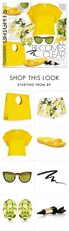 """""""Yellow Brights"""" by stylemeup-649 ❤ liked on Polyvore featuring Loewe, Dolce&Gabbana, River Island, Birkenstock, Stila, Seaman Schepps, Bourjois, yellow, shorts and summerbrights"""
