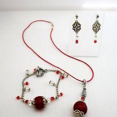 Parure bijoux fantaisie complète rouge