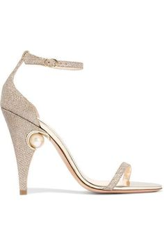 Heel measures approximately 105mm/ 4 inches Rose-gold mesh, gold leather Buckle-fastening ankle strap Made in Italy