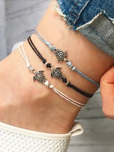 Anklets retro turtle pendant anklet bracelet leather women foot beach accessories gift alloy silicone china Jewelry & Watch buy at best price on besprod Beach Jewelry, Cute Jewelry, Diy Jewelry, Jewelry Gifts, Jewelery, Jewelry Design, Cheap Jewelry, Jewelry Shop, Cz Jewellery