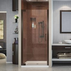 DreamLine Elegance 28-3/4 in. to 30-3/4 in. x 72 in. Semi-Frameless Pivot Shower Door in Oil Rubbed Bronze